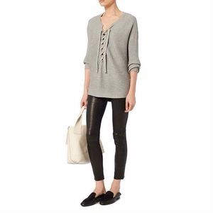 Designers Remix Ribley Grey Lace-Up Sweater